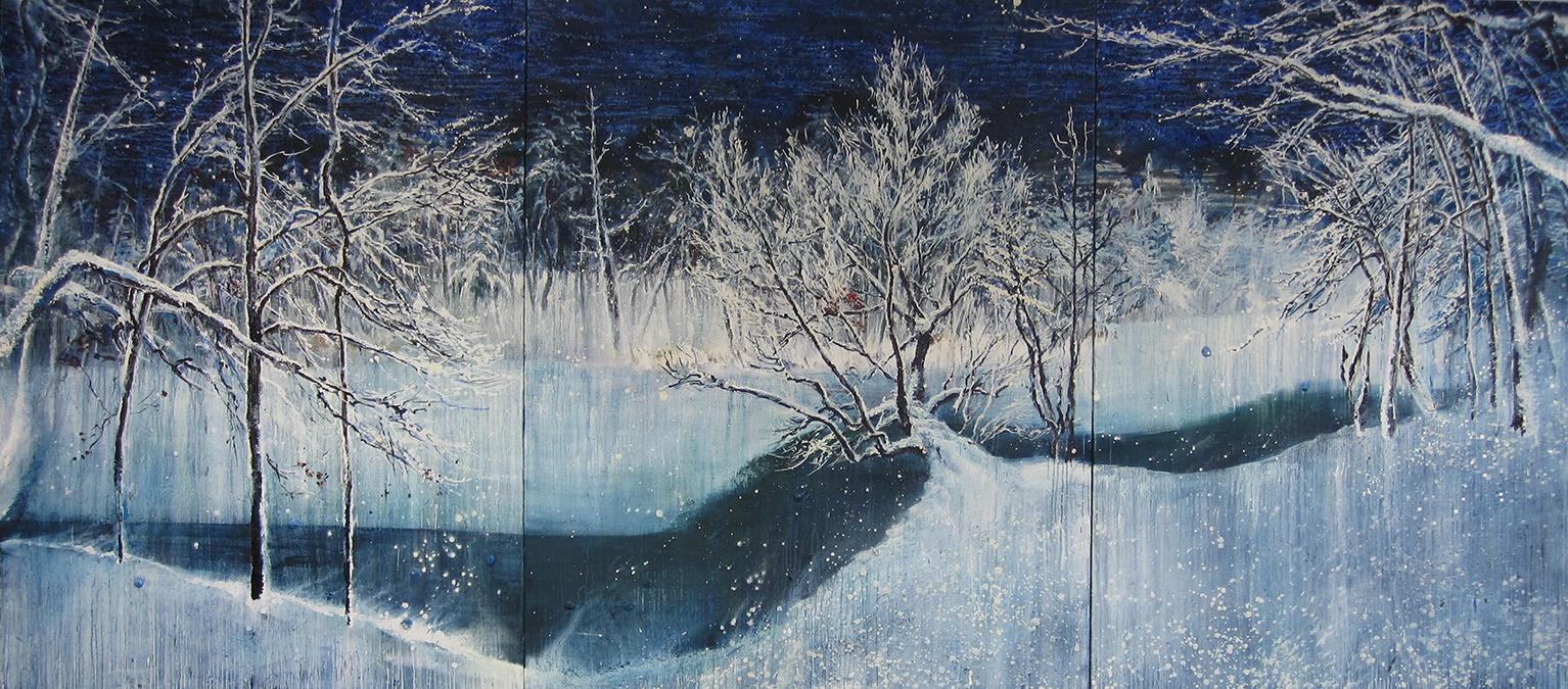 1-Schnee im Krumme LanKe See 2010, 200x 450 cm Öl und Tempera auf Nessel, 눈 내리는 쿠르메 란케 호수