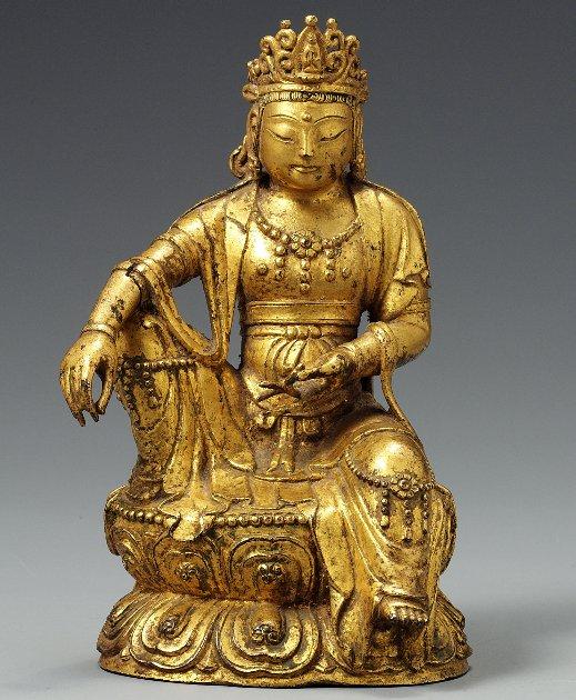 Gilt-bronze Seated Bodhisattva , 14Century, 11.2cm