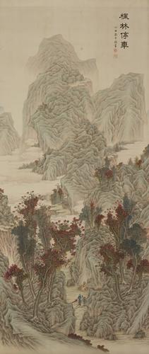 Joongsik Ahn,풍림정거도(風林停車圖), ink on Silk, 164.4x70.4cm, 1913