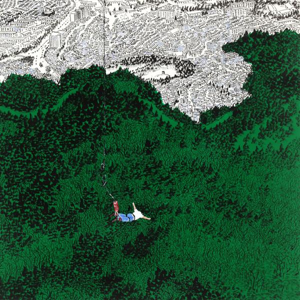 Neungsaeng PARK Vertical Jump 2013 Korean Ink and Acrylic on Canvas 91 x 72 cm
