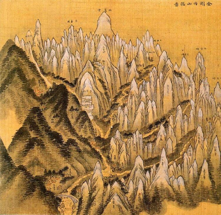Jeong Seon, Geumgangnaesan Chongdo 1711. Watercolor on silk, approximately 36×37.4cm, National Museum of Korea.