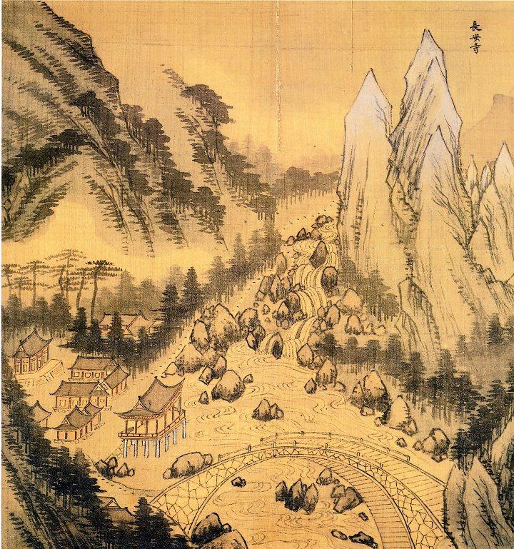 Jeong Seon, Jangansa in Sinmyonyeon Pungakdocheop, 1711. Watercolor on silk, approximately 36×37.4cm, National Museum of Korea.