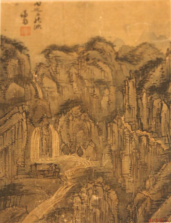 Jeong Seon, Samyongchu Waterfalls on Mount Naeyeon. Watercolor on paper, 159.8×56.2cm, Leeum.
